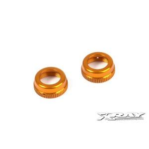 XRAY T4 Aluminum Shock Cap Nut with Vent Hole - Orange