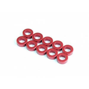 3x5.5x0.5mm Aluminium Spacer, 10 pcs, Red