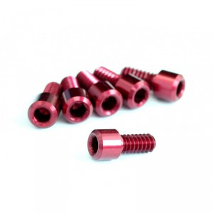 """Roche - 4-40x1/4"""" Cap Head Screw with 2mm Hex, Red"""