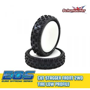 Schumacher Cut Stagger 2WD Front Tires Low Profile Medium - Yellow - Preglued
